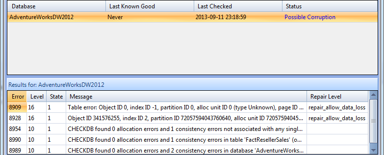 NCL Corruption via Idera SQL Integrity Check